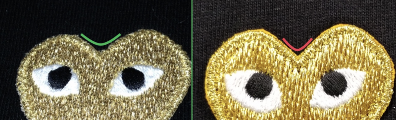 nep-echt-Comme-des Garçons-gouden-dubbele-hart